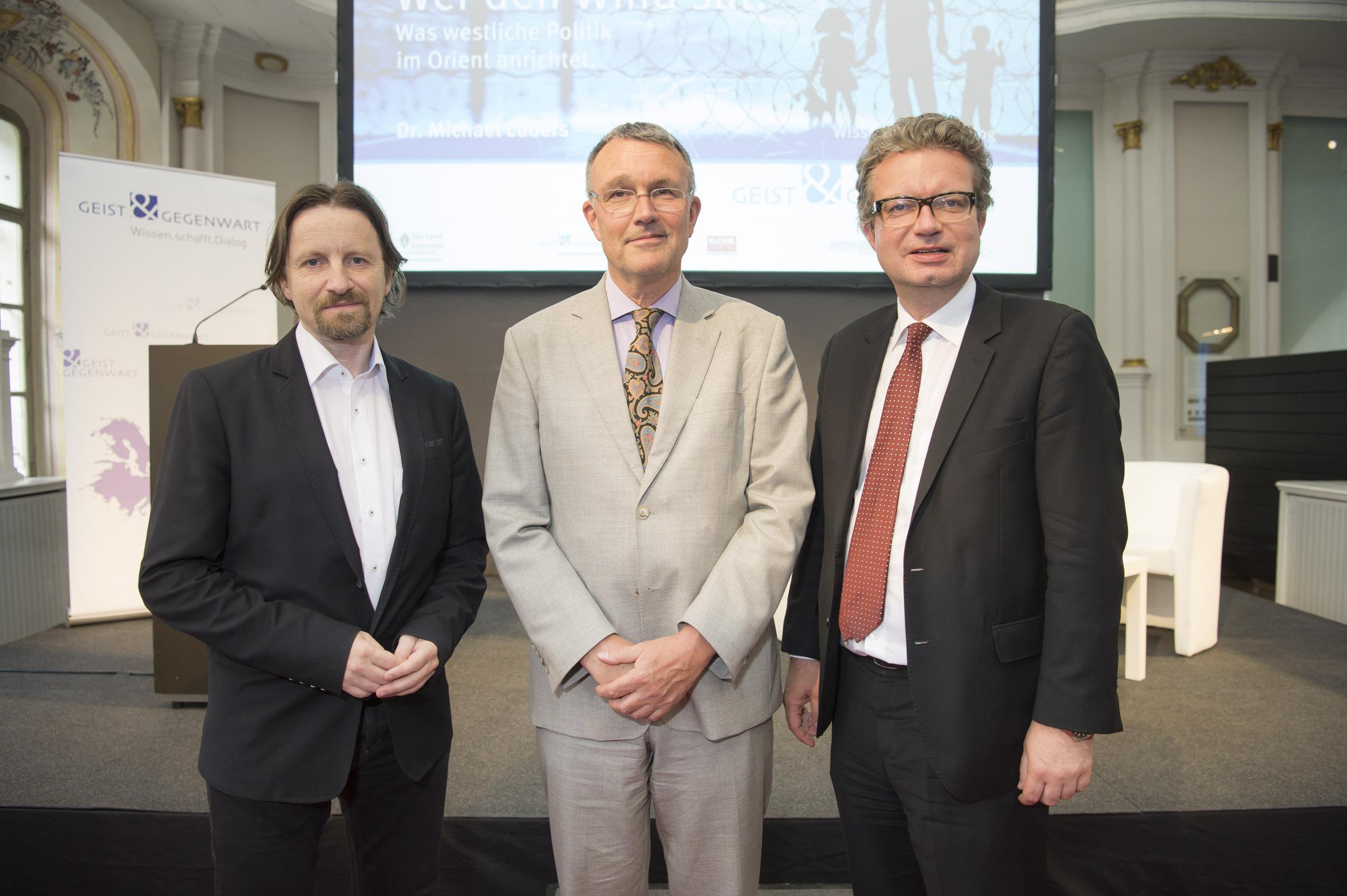 Dr. Ernst Sittinger, Dr. Michael Lüders ,Wissenschaftslandesrat Mag. Christopher Drexler Credit: Thomas Fischer