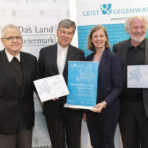Foto (© Land Steiermark/Streibl): Präsentierten das Programm des Pfingstdialogs 2019 (v.l.): Heinrich Schnuderl, Herwig Hösele, Barbara Eibinger-Miedl, Lojze Wieser